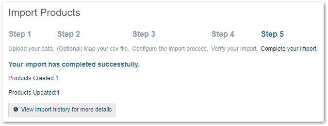 Step 5 - Complete your Import